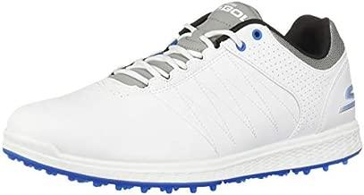 Skechers Men's Pivot Spikeless Golf Shoe, White/Gray/Blue, 9.5