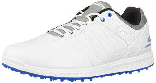 Skechers mens Pivot Spikeless Golf Shoe, White/Gray/Blue, 9.5 Wide US