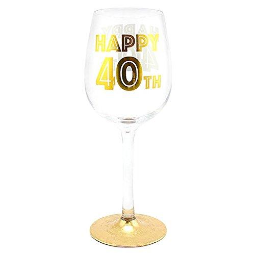 Copa de vino «Happy 40th» con ilustraciones doradas en caja de presentación...