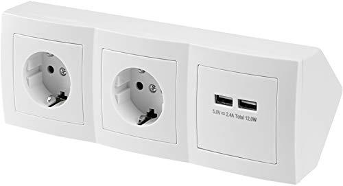 Regleta de 2 enchufes, enchufe de esquina y 2 puertos de carga USB, 230 V, 16 A, 3600 W, T1, color blanco