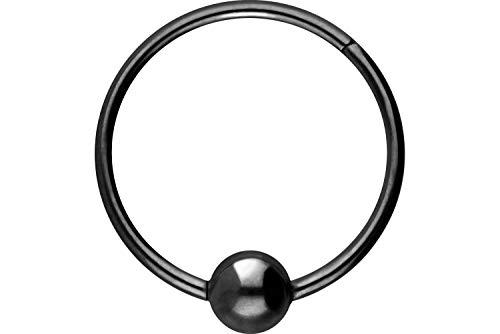 PIERCINGLINE Titan Segmentring Clicker   mit Kugel   Piercing Ring Septum Ohr Tragus Helix   Farb & Größenauswahl