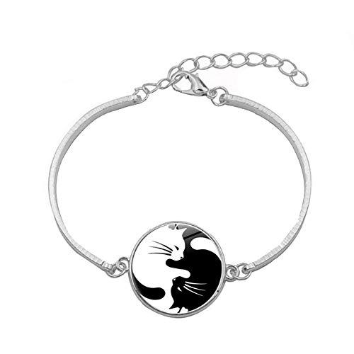 Nacola verstellbares Armband für Frauen mit schönem Tai Chi schwarz und weiß Katze Muster Scheibe, Manschette Armband Armreif