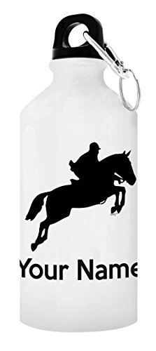 ThisWear Customized Horse Equipment Customized Horse Water Bottle Personalized Gift Aluminum Water Bottle with Cap & Sport Top White