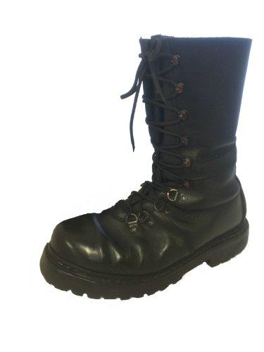 Halb gefüttert Österreichischer Combat Fallschirmjäger Mountain Stiefel, Grade One schwarz schwarz 48