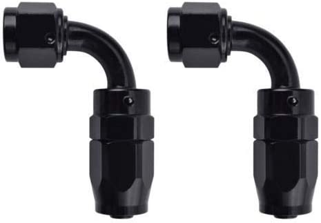 4Pcs 6AN Straight Swivel Hose End Fitting for Fuel Oil Line Aluminum Black Straight