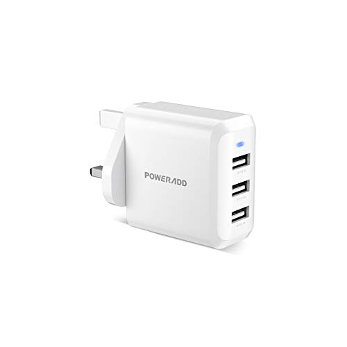 Poweradd 30W Main Charger, 3-Port USB Wall Charger, USB Plug Chargers Compatible with Apple iPhone 11 Pro/XS Max/XR/X/8/8 Plus, Galaxy, iPad and More – White