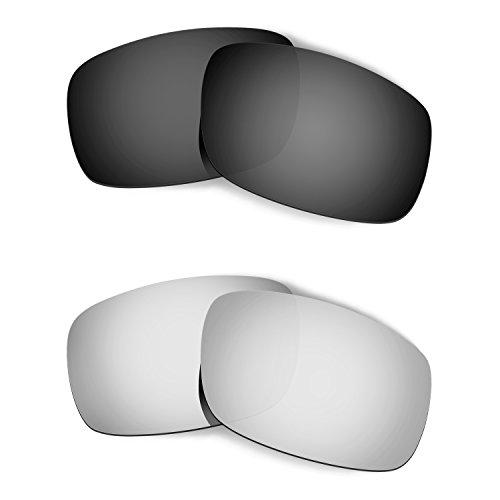 HKUCO Mens Replacement Lenses For Oakley Crankshaft Black/Titanium Sunglasses