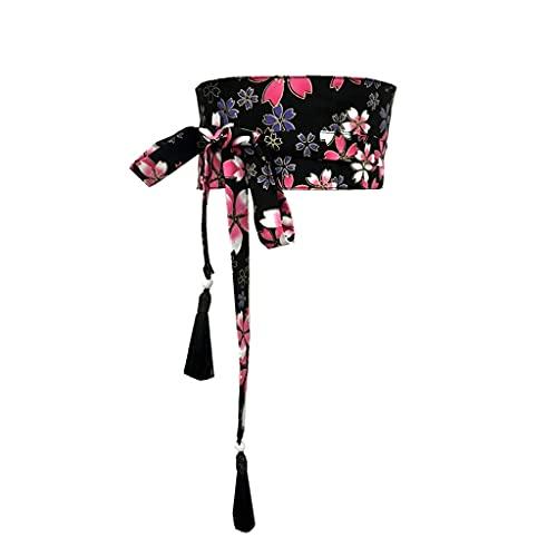 NMJKH Cinturón De Damas Original, Impresión De Kimono, Cinturón De Moda, Borlas, Vendaje, Harajuku, Asiáticas, Damas, Yukata, Cinturón (Color : B, Size : 10cm)