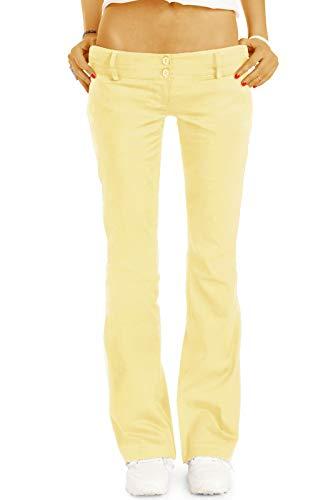 bestyledberlin BE Styled Damen Chinos - Stoffhosen - Bootcut Hüfthosen mit Stretch h17a 36/S gelb