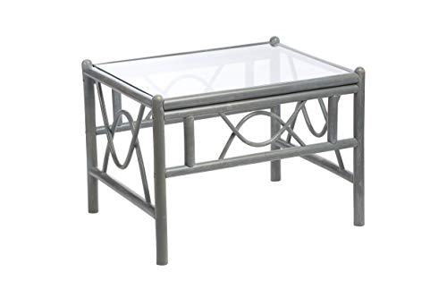 Desser Bali Grey Coffee Table with Toughened Glass Top – Sturdy Cane Pole Frame Indoor Conservatory or Living Room Furniture - H47cm x W67cm x D52cm
