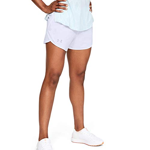 Under Armour Women's Fly By 2.0 Running Shorts, White (100)/Reflective, Medium