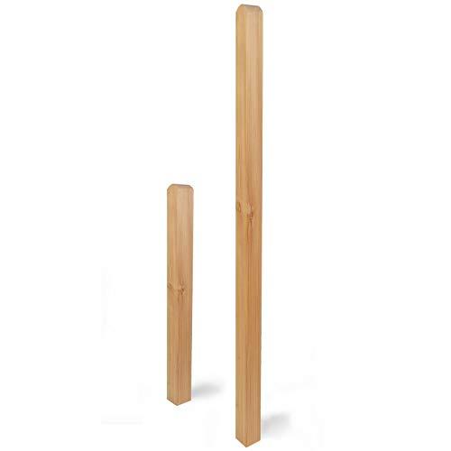 Weidenprofi Holzpfosten aus Lärchenholz, vierkant, kopfgerundet, 9 x 9 x 190 cm