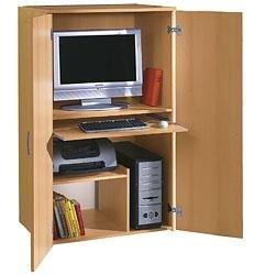 Büroschrank -   Buche PC Schrank