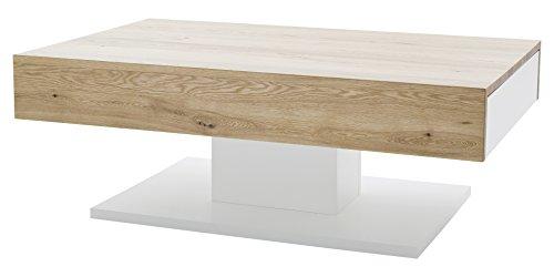 Robas Lund Couchtisch Weiß Matt Wohnzimmertisch mit Asteiche furniert, Lania BxHxT 110 x 70 x 40 cm