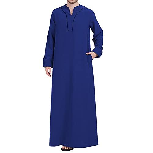 YHQKJ Vestido Casual árabe de los Hombres, Vestido Tradicional en V Cuello en v Manga Larga Vestido Ultra Largo para Casual (Color : B, Size : 3XL)
