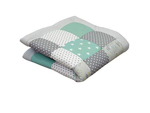 Alfombra para gatear de ULLENBOOM ® con safari menta (manta para bebé de 120x120 cm; ideal como colcha para el cochecito; apta como alfombra de juegos)