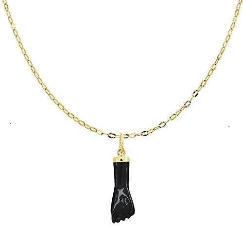 Collar Cadena Tallada Mujer Oro Amarillo 18 kilates 750 mls manita higa negra 40 Cm