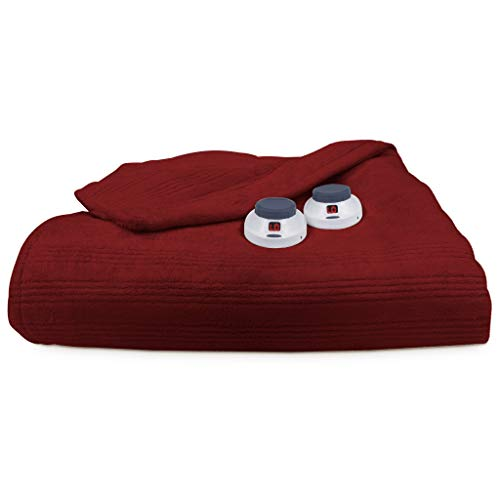 SoftHeat by Perfect Fit | Ultra Soft Plush Electric Heated Warming Blanket with Safe & Warm Low-Voltage Technology (Twin, Garnet Red)