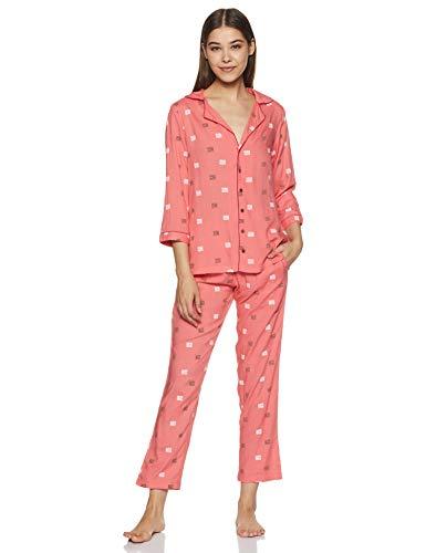 Indigo Women's Rayon Regular Fit Night Suit (SS20-IND1224_Pink_XL)
