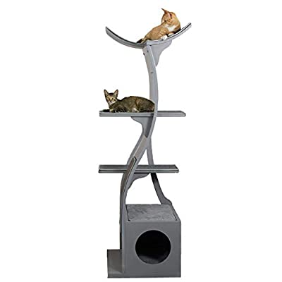 The Refined Feline Lotus Cat Tower in Smoke