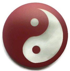 Chic Ying Yang - Pin de botón para insignia (1,75 pulgadas), color rojo y blanco