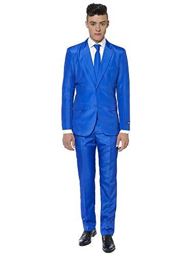 Mens One Button Slim Fit Plaid Suit Blazer+Vest+Pants US Size 34 (Label XL) Blue