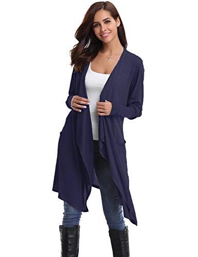 Abollria Damen Strickjacke Lang Cardigan Casual Langarm Wasserfall Jacke Asymmetrisch Schnitt mit Seitentaschen
