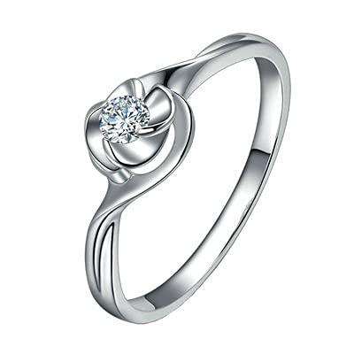 Bishilin Anillos de Oro Blanco 750 Alianza de Bodas de 18K, Flor Diseño Rojoondo Diamante 0.09ct Aniversario de Bandas de Anillo de Compromiso Ajuste Cómodo Oro Blancotamaño: 11