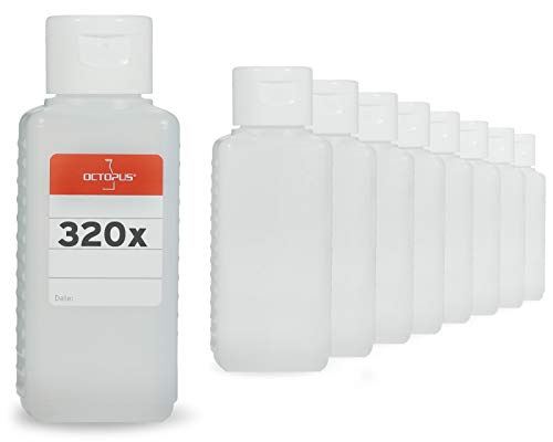Octopus 320 x 100 ml Plastikflaschen aus HDPE mit weißen Klappverschlüssen
