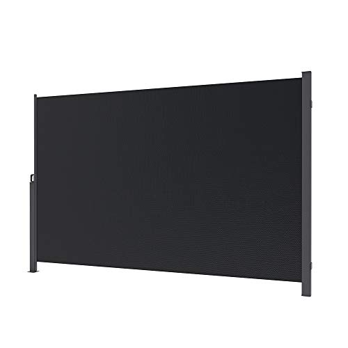 sogesfurniture 71 inches Outdoor Patio Retractable Folding Side Screen Awning Waterproof Patio Side Awning Wall Post Mounted Side Awning Privacy Screen Sun Shade, Black BHUS-MH038-318B