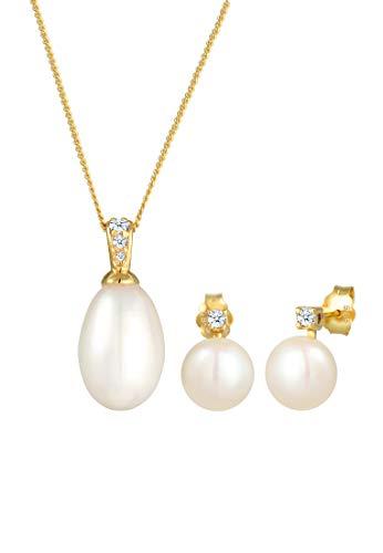 DIAMORE Schmuckset Damen Ohrstecker Klassisch Perle mit Diamant (0.12 ct.) in 585 Gelbgold