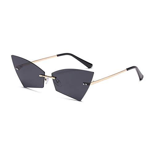 ZZOW Gafas De Sol con Forma De Hoja De Ojo De Gato Únicas A La Moda para Mujer, Gafas De Sol Transparentes Sin Montura Vintage para Mujer, Gafas De Sol para Hombre, Gafas De Sol Uv400