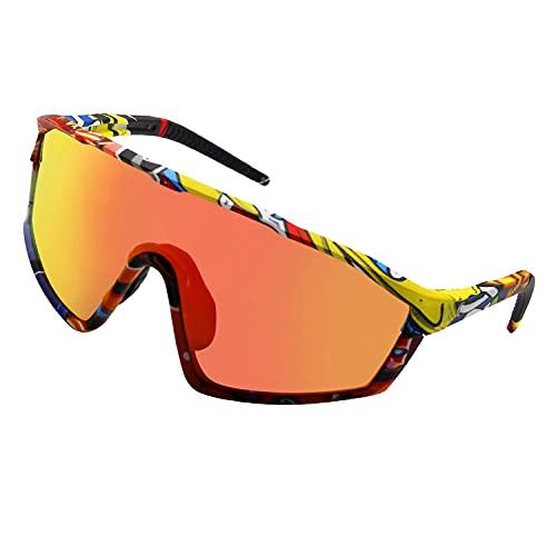 Homradise Gafas de bicicleta de carretera, Accesorios de mtb, Gafas de ciclismo Gafas de sol polarizadas para hombres y mujeres, Gafas de sol deportivas para baloncesto, pesca, esquí(Amarillo)