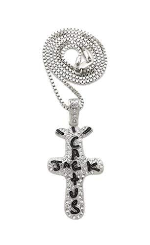 BLINGFACTORY Hip Hop Iced White Gold PT Cactus Jack Cross Pendant & 2mm 24' Box Chain Necklace
