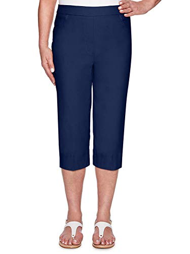 Alfred Dunner Women's Classic FIT Allure Clam Digger Pant, Navy, 14