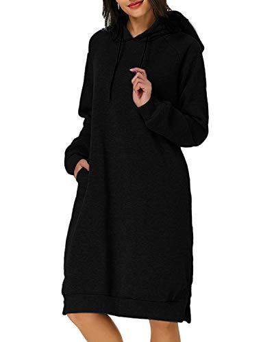 Kidsform Damen Hoodie Pullover Kapuzenpullover Herbst Pulli Kleider Sweatjacke Jumper Lange Sweatshirt Schwarz 44 XL