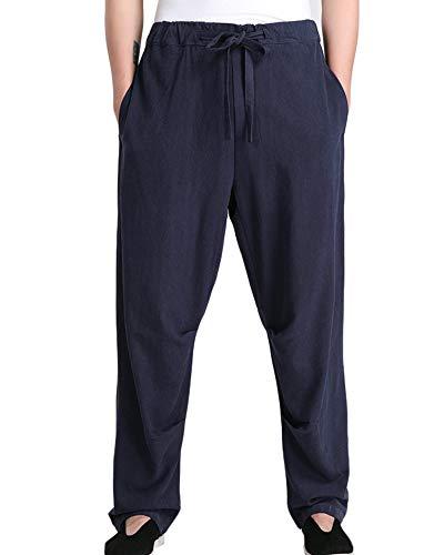 Pantalones de Artes Marciales para Hombres Pantalones de Lino Transpirables Kung Fu Tai Chi Pantalones de Traje