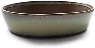盆栽鉢 小判切立盛 四日市萬古焼 (6号(約19センチ), 織部釉(緑))