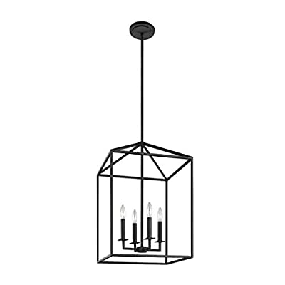 Sea Gull Lighting 5115004-839 Perryton Medium Four-Light Hall/Foyer Hanging Modern Fixture, Blacksmith Finish