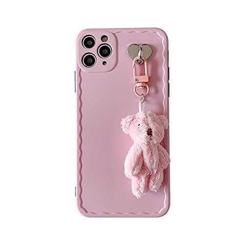 Peluche muñeca 3D Oso protección de cámara Funda para teléfono para iPhone 12Mini SE 2020 7 8 Plus XR XS 11Pro MAX Funda Trasera Suave de Silicona Rosa, A, para iPhone 12Pro MAX