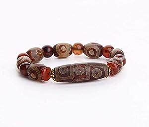 Wsadjkl Glückssegen Feng Shui Perlen Armband Reichtum Armband, Feng Shui tibetischen Dzi Perlen Schutz Amulett Armband, Reichtum und viel Glück anziehen, Deluxe Geschenkbox enthalten Amulett Perlen