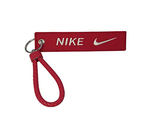 PD Store 1pc Wristlet Braided PU Leather Tag Keychain For Nike Gift Sport Bag Luggage Fashion Running Office House Car Truck Motorcycle Locker Gym Keys Workout (Red)