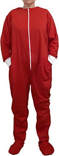 Funzee Jumpsuit mit Füßen Onesie Overall Hausanzug Einteiler Strampler Trainingsanzug Pyjama, Rot, L