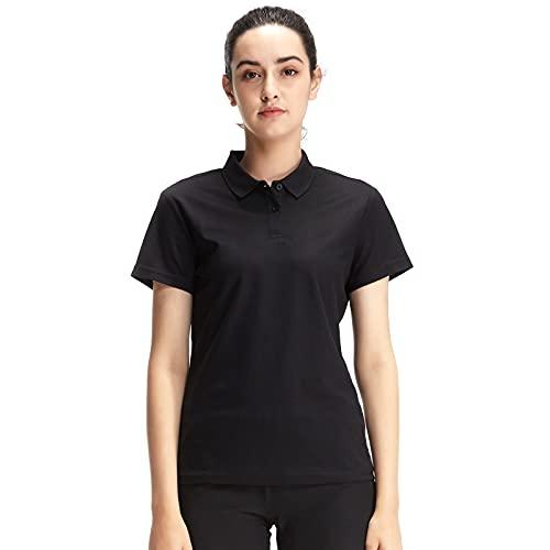Casei Womens Polo Shirts Golf Shirts Quick Dry Moisture Wicking Black and White Polo Shirt(Black,L