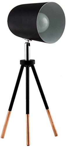 BRUBAKER Faretto portatili con treppiede 32 cm in metallo color nero/rame girevole e orientabile