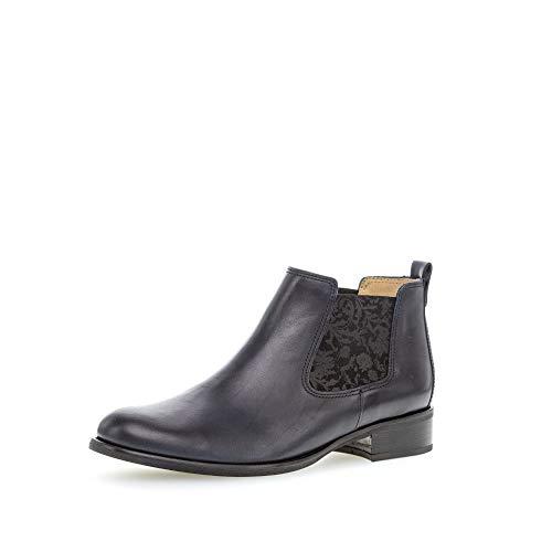 Gabor Damen Chelsea Boots, Frauen Stiefeletten, Stiefel halbstiefel Bootie Schlupfstiefel flach,River (Ornament),40 EU / 6.5 UK