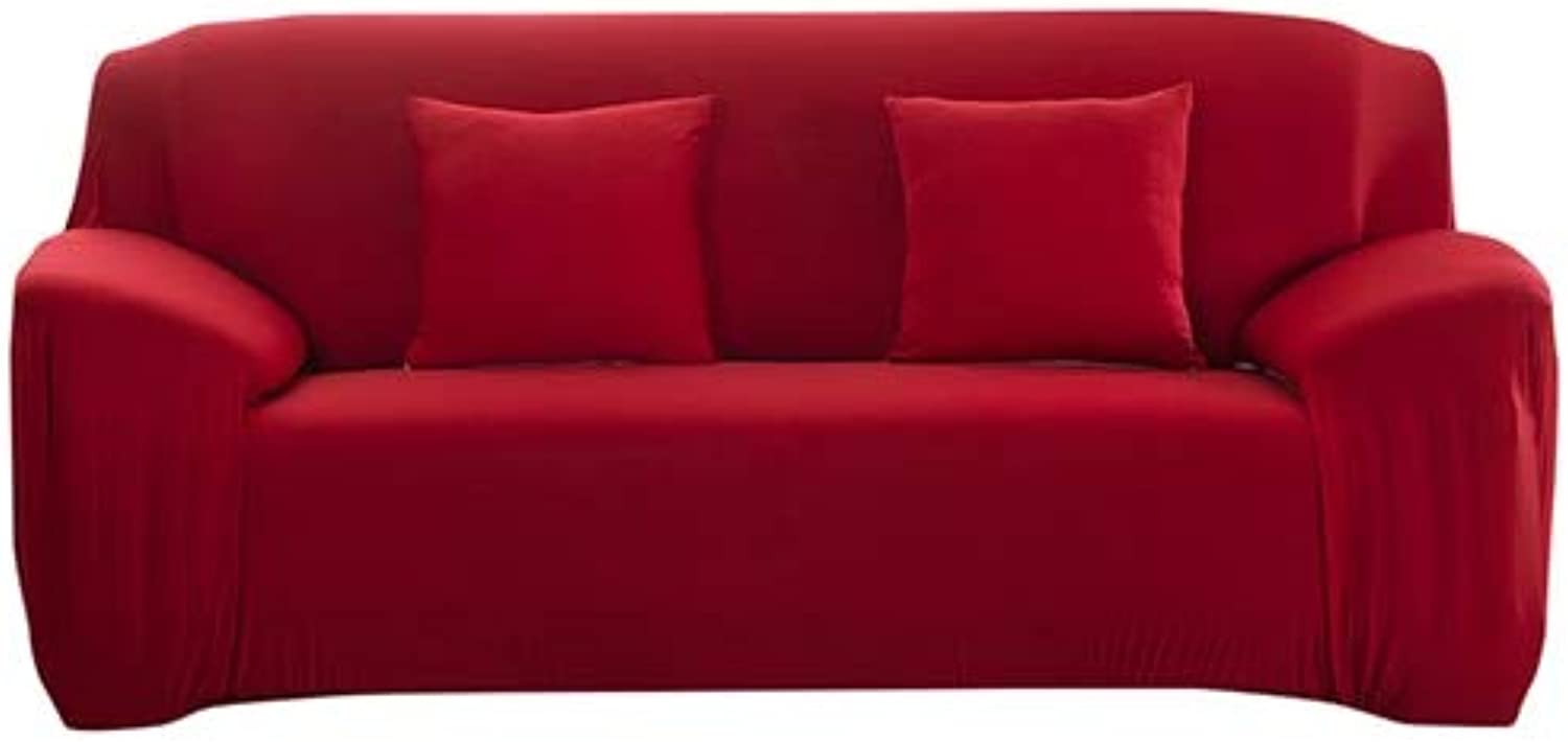 PlenTree Modern Decorative Elastic Sofa Cover Solid color Fashion Sofa Slip for lig Room Stretchable Couch Cover Cushion  red, 1 Seater