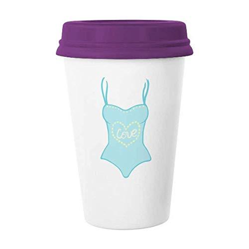 Ilustración azul traje de baño taza de café cerámica taza taza de cerámica regalo