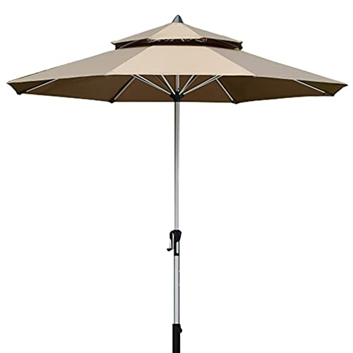 GAOYUN Sombrilla para Patio al Aire Libre de 2,7 m / 9 pies con manivela, sombrilla para Mesa de Mercado, Poste de Aluminio, 8 Varillas Resistentes