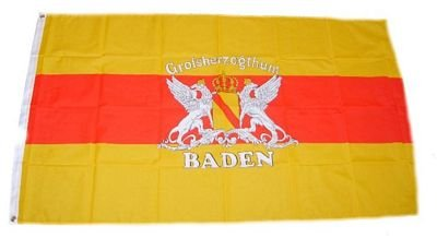 Fahne / Flagge Großherzogtum Baden Schrift 90 x 150 cm